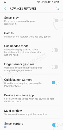 Samsung Galaxy S9 Review - Settings menu