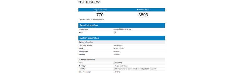 HTC 2Q5W1 with a Snapdragon 625 appears on Geekbench