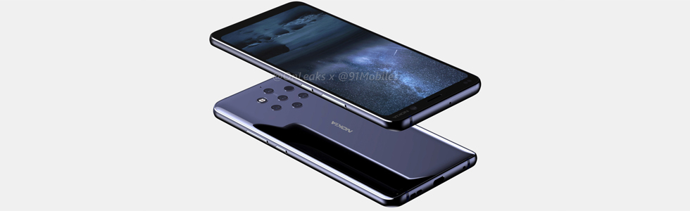 Nokia 9 PureView with five cameras appears on a press render