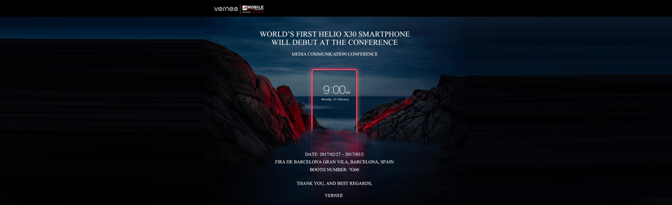Vernee to unveil the first Helio X30 based smartphone at the MWC 2017