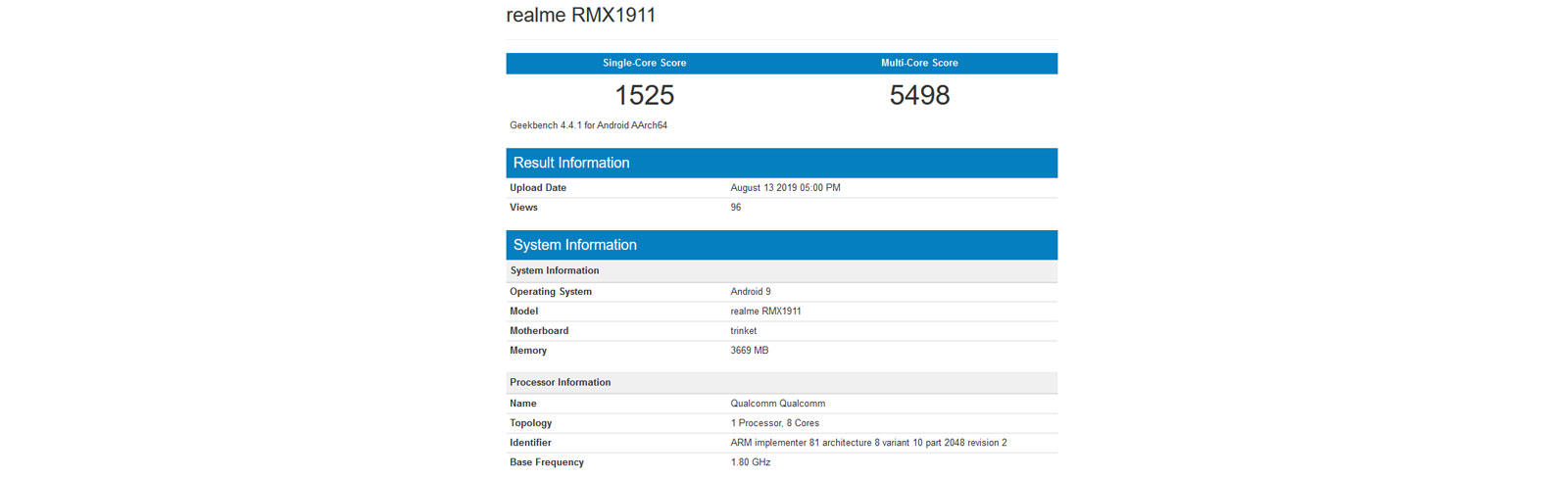 Realme 5 appears on the Geekbench browser touting a Snapdragon 665 chipset