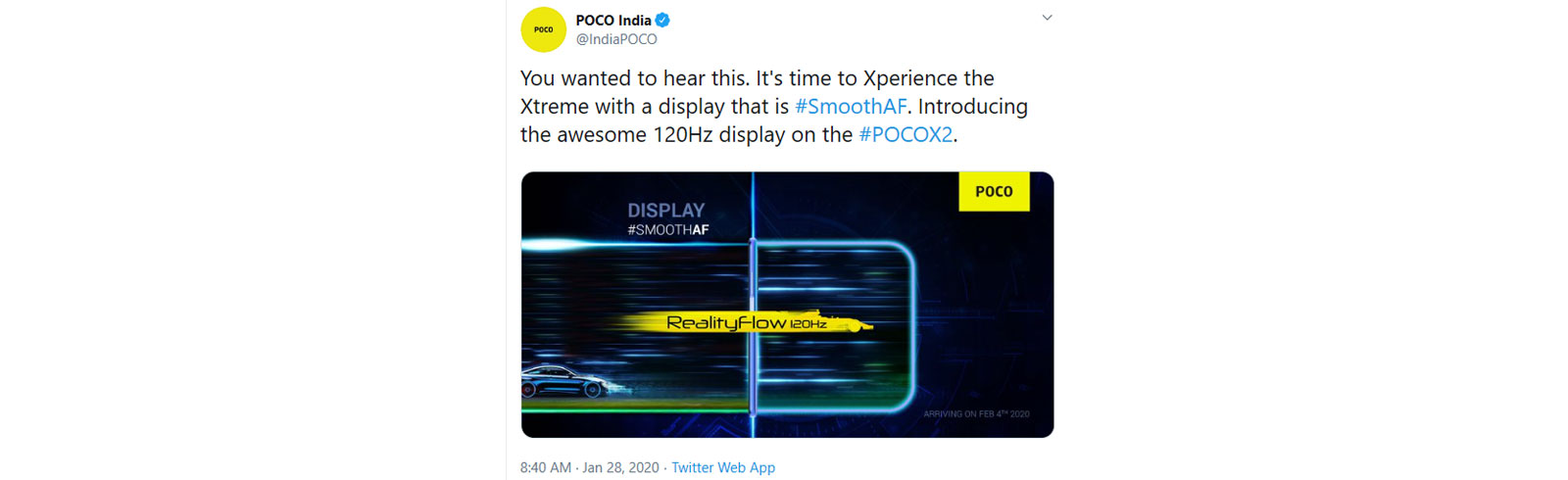 Confirmed: Poco X2 will have a 120Hz display