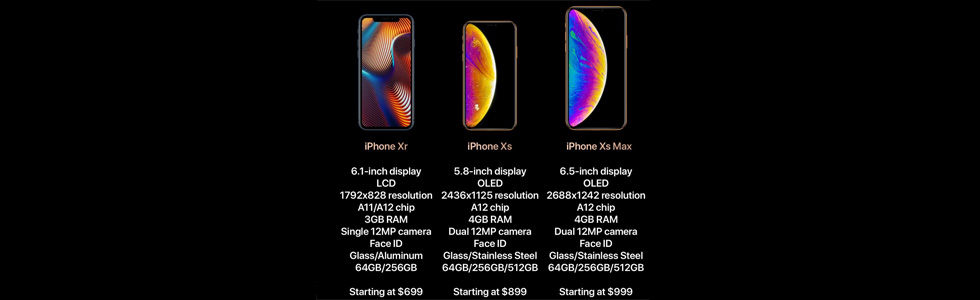 iPhone Xr, iPhone Xs, and iPhone Xs Max names, colour and storage options are confirmed