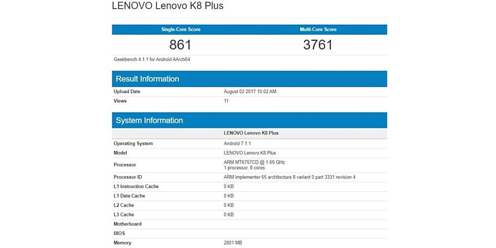 Lenovo K8 Plus surfaces on Geekbench