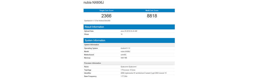 nubia Z18 a.k.a. NX606J appears on Geekbench