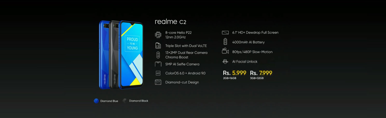 Realme C2 is official with a Helio P22 chipset and a 4000 mAh AI battery