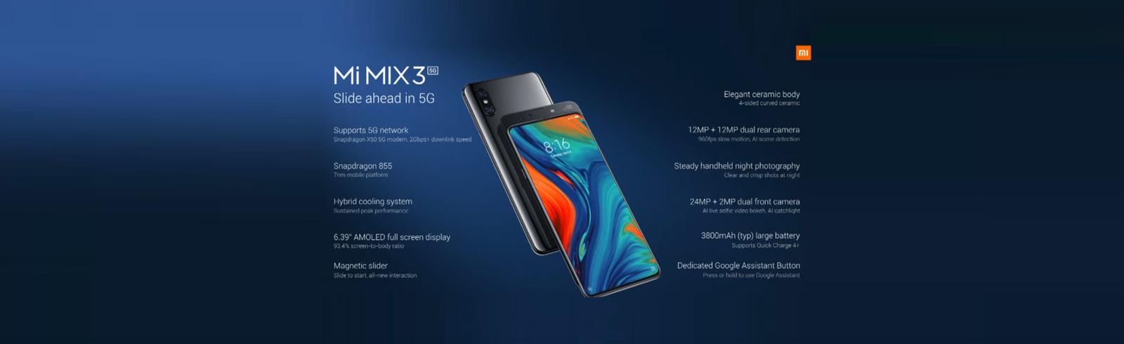 Xiaomi announced the Mi MIX 3 5G, will cost $679