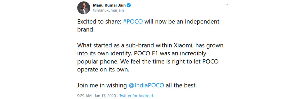 Poco will become an independent brand from Xiaomi