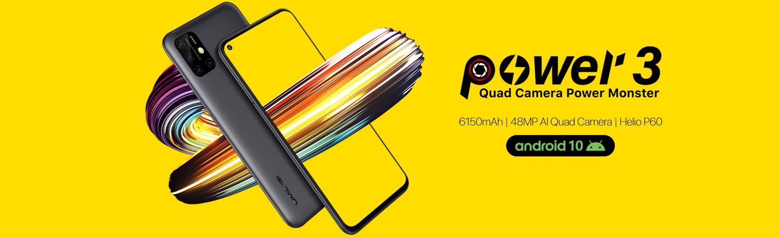 UMIDIGI Power 3 goes official with a 6150 mAh battery, Helio P60 chipset, quad rear cameras