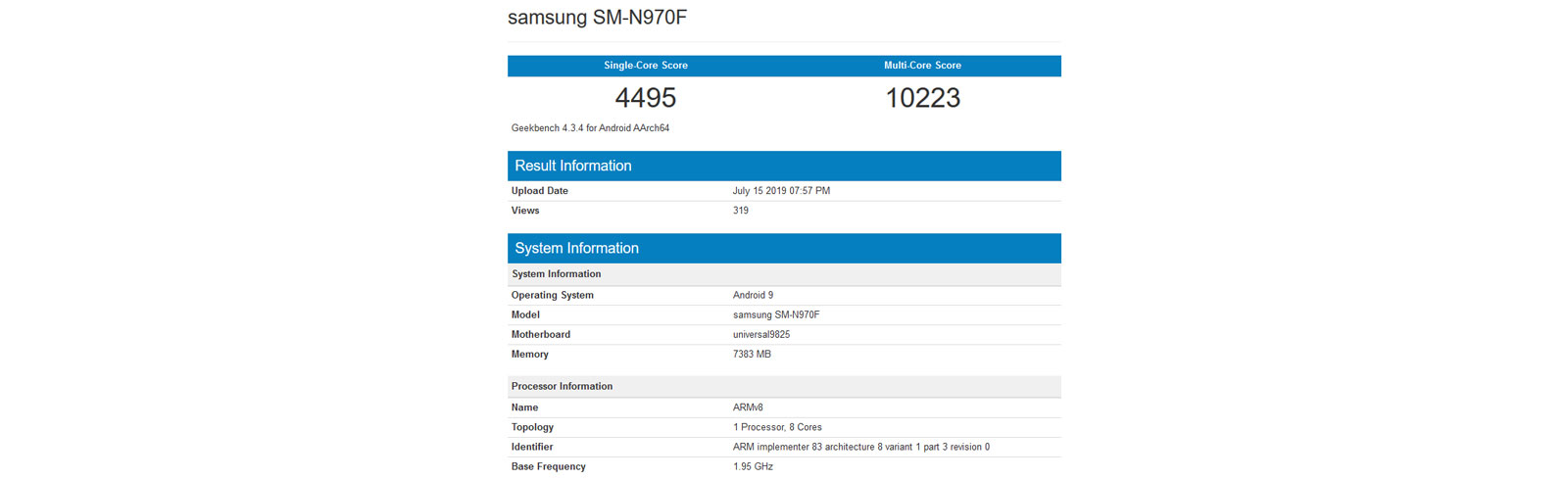 Samsung Galaxy Note 10 with Exynos 9825 passes by Geekbench