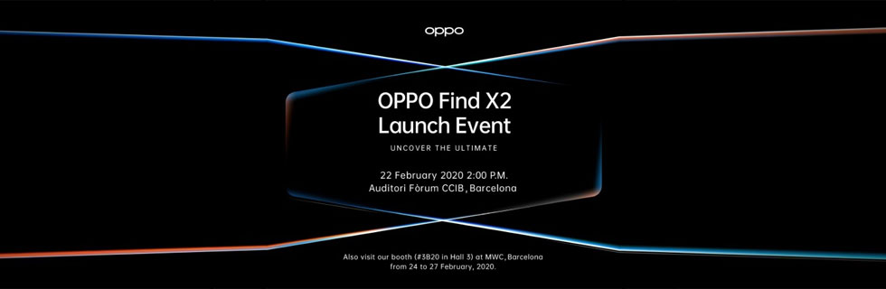 Oppo Find X2 will debut on February 22 during MWC 2020 in Barcelona